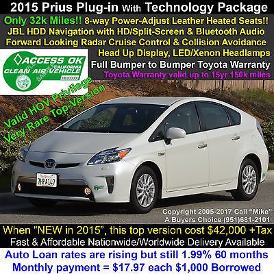 2015 Toyota Prius Plug-in Advanced with Premium Technology Package Radar Cruise, 8-way Power Leather Seat(s), Navigation, Bluetooth, Full-Warranty!