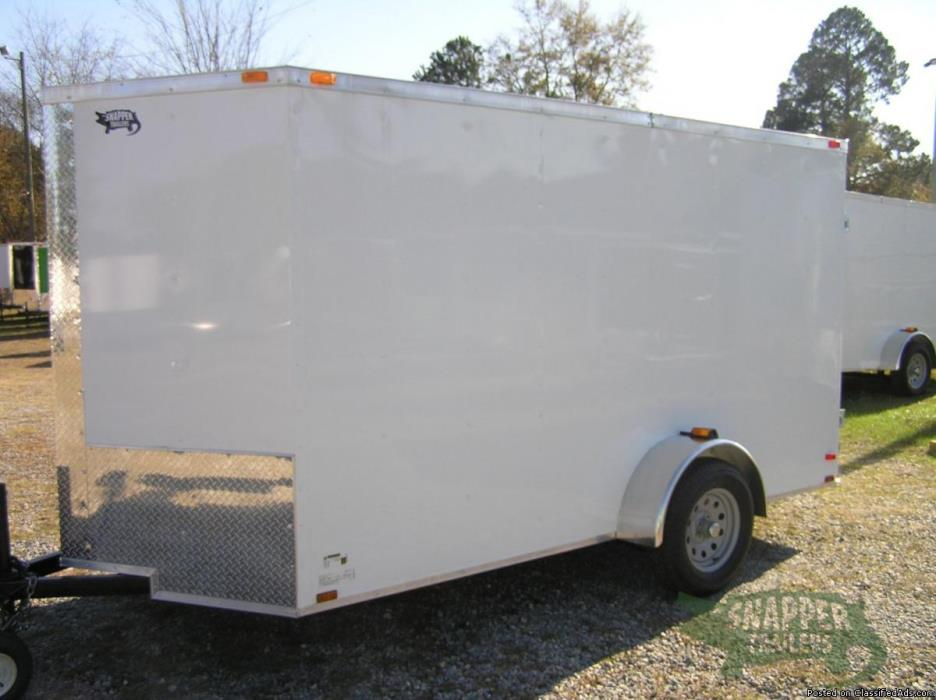 New 6' x12' Enclosed Cargo, Sharp looking White Ext. with Additional 3in. Height
