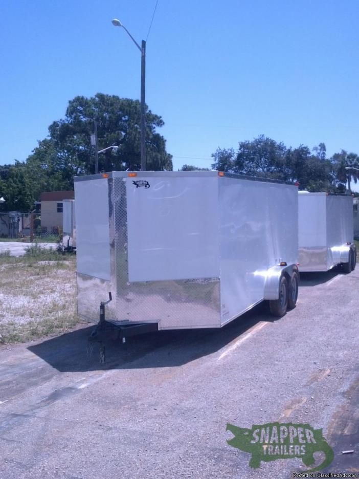 Trike Trailer for sale! NEW Ramp Door White Ext. 7 ft. x16 w/ V-Nose Front