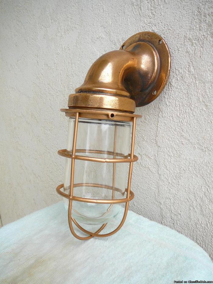 Vintage Brass  NAUTICAL  BULKHEAD  WALL  LIGHTS