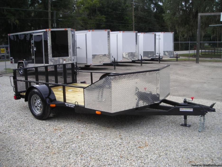 6.5x10 MOTORCYCLE/BIKE TRAILER, V NOSE, LOW PROFILE, SQ. TUBE CNST. $1435.