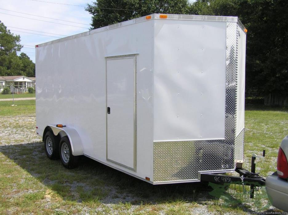 7 feet by16 feet Wht SXS Razor Hauler w- RV Style Side Door -NEW TRAILER!