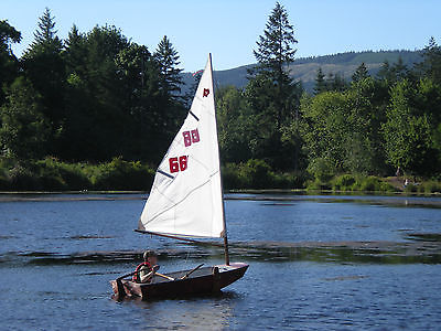 Sailing Dinghy 8ft Cat Boat Complete Rigging and Electric Motor 8' Fiberglass
