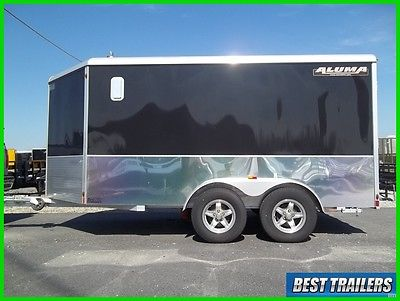 2015 Aluma AE712TAM cargo enclosed aluminum trailer 7 x 12 motorcycle w spare