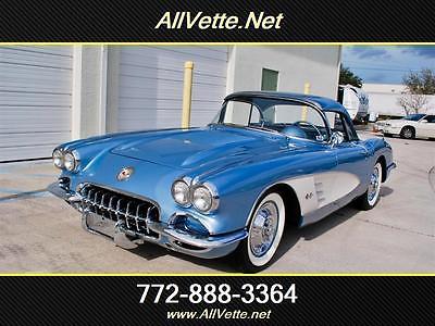 1958 Chevrolet Corvette ilver-Blue/Blue-Grey, Wide Whites, 4-Spd, Wonder Bar, 2-Tops, Older Restoration