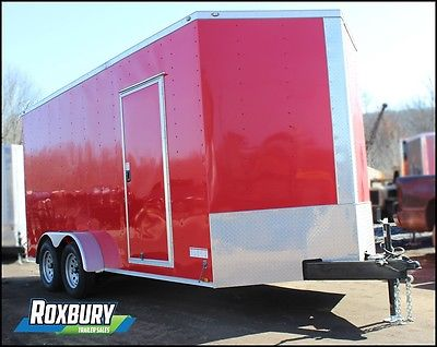 2017 Anvil 7x16 V-NOSE Enclosed Cargo Trailer 7K RED 5 yr warranty EXTRA HEIGHT