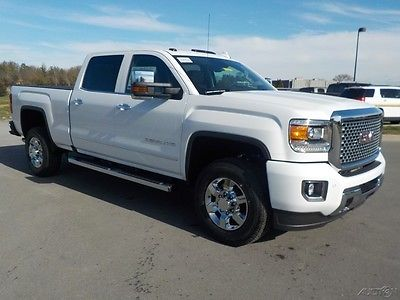 2017 GMC Sierra 3500 Denali Crew Cab 4x4 Summit White/Cocoa Dune/ Sand Heated/ Vented Leather Seats Navigation Bose Spray in Liner 6