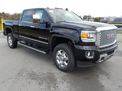 2017 GMC Sierra 3500 Denali Crew Cab 4x4 Onyx Black 5th Wheel Prep Black Heated/Vented Leather Spray in Liner Sunroof Navigation Bose 6
