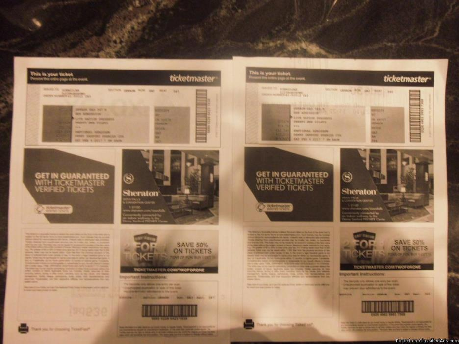 2 Floor tickets to Twenty One Pilots in Sioux Falls!!! - $200 (Sioux Falls, SD)