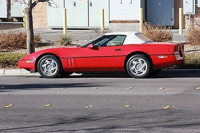 1990 Chevrolet Corvette Base Convertible 2-Door Corvette Red on Red Artic White Top