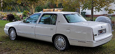 1999 Cadillac DeVille White w/Silver Trim and Details Cadillac Deville 1999 White 4 Door Leather Tan Interior Cassette Over Heating