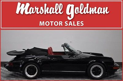 1988 Porsche 911 Carrera Convertible 2-Door 1988 PORSCHE 911 CABRIOLET BLACK/LIPSTICK RED LEATHER, SPOILERS, 19300 MILES