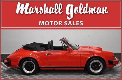 1986 Porsche 911 Carrera Convertible 2-Door 1986 PORSCHE 911 CABRIOLET IN GUARDS RED 22900 MILES 5 SPEED WINDOW STICKER