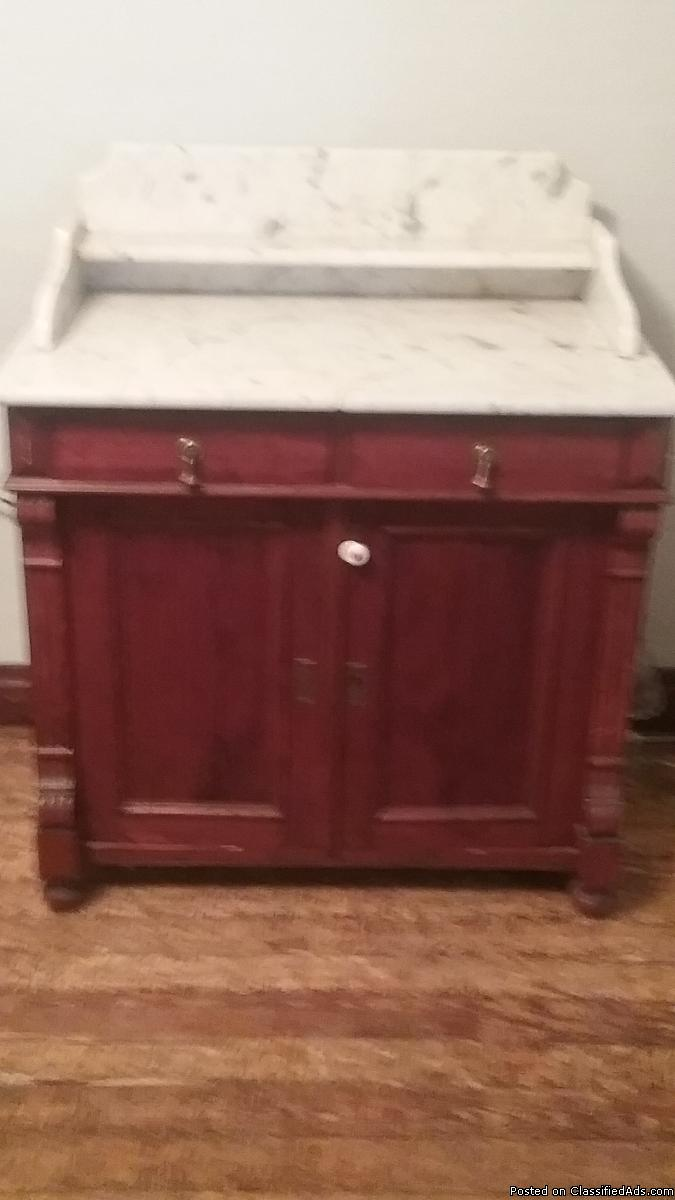 Antique Dry Sink with Marble Top
