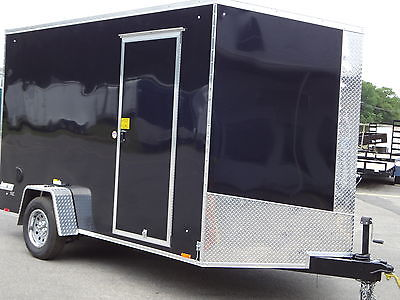 PACE 7 x 12 V - NOSE UTILITY ENCLOSED RAMP DOOR TRAILER NEW 2017 TRAILERS