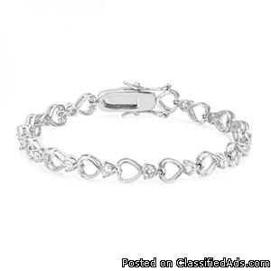 Linked Hearts Tennis Bracelet -Free shipping.