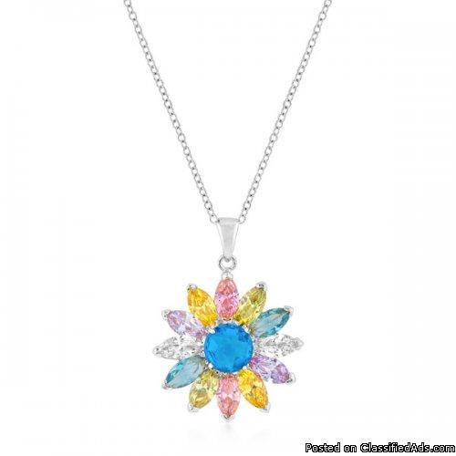 Silvertone Colorful Flower Pendant