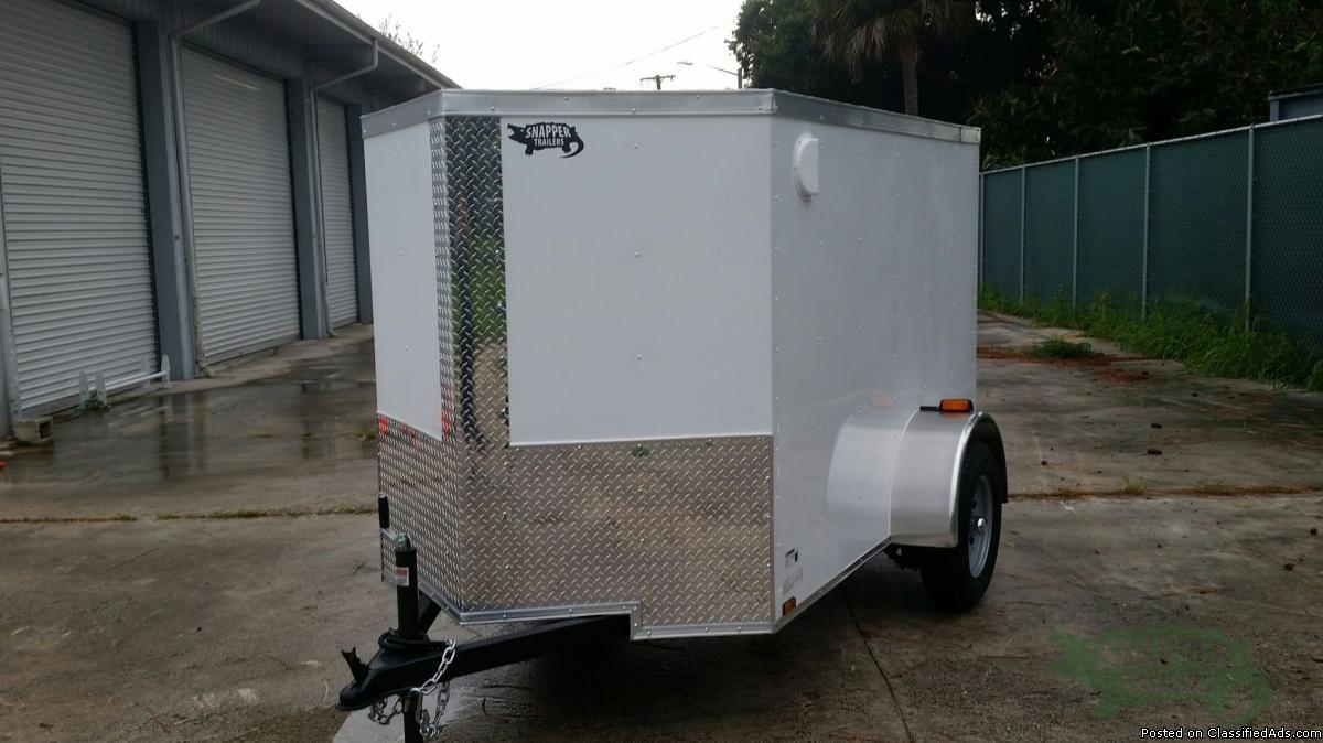 New 5x8ft. Enclosed Cargo Wht Exterior Color w/Rear Ramp Door