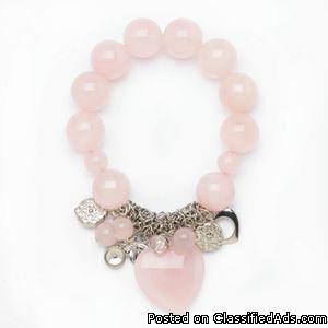 Rose Quartz Stretch Bracelet -Free shipping.