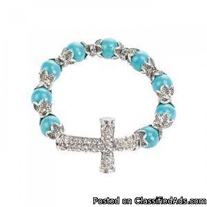 Cross Beaded Stretch Bracelet