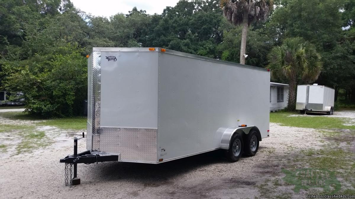 NEW!! 7ft.x16 Toy Hauler w/Additional Height,Side Door GREAT TRAILER!