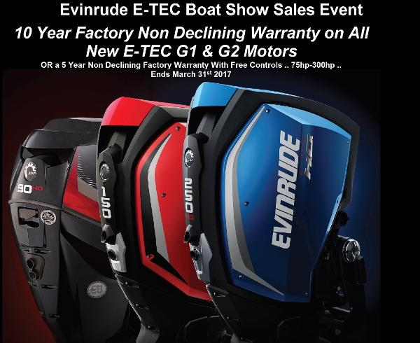 2016 Evinrude E-TEC G1 G2 10 year factory non declining warranty with a new E-TEC