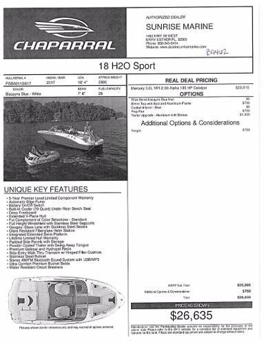 2017 Chaparral 18 H2O Sport