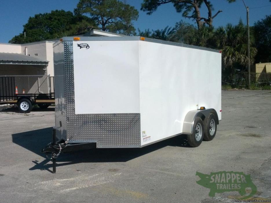 NEW White EXT 7 foot by14 foot Enclosed Trailer w/ Bar Lock Side Door & V-Nose...