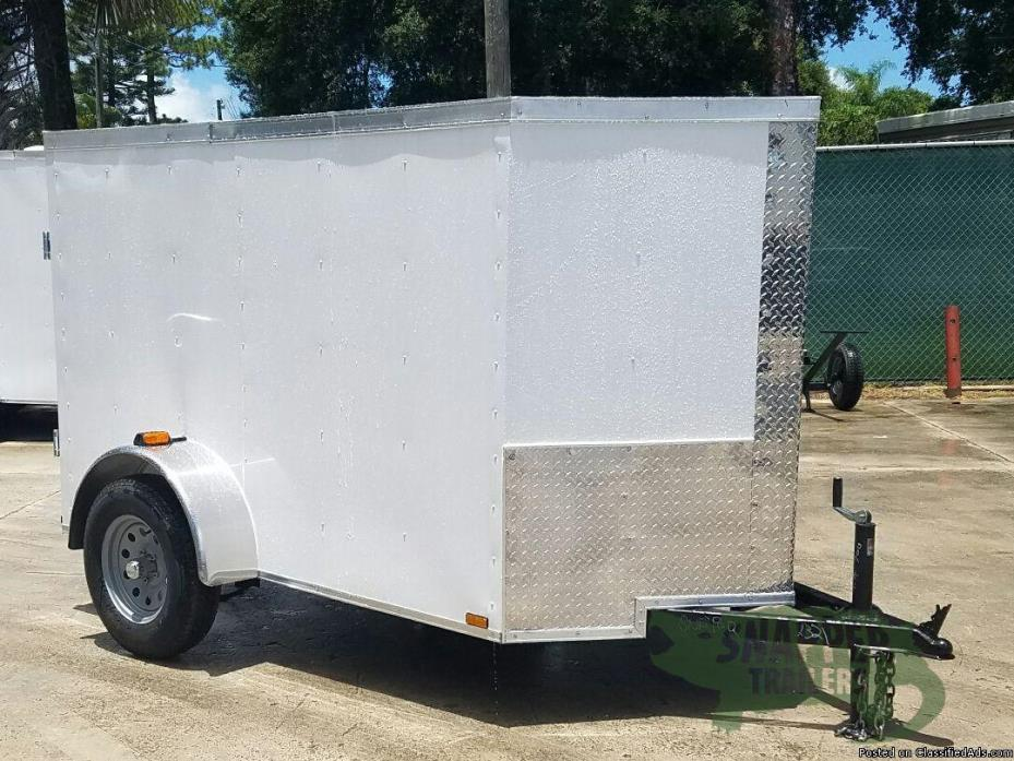 Trailer with V-Nose Front and No Side - 5ft. x8ft. Wht