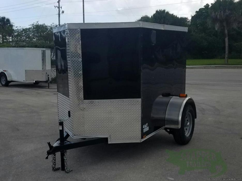 5' x 6' Black Ext. ENCLOSED TRAILER w/No Side & Vnose - NEW Trailers IN STOCK!