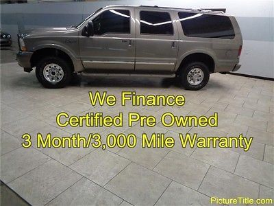 Ford : Excursion Limited 4WD Limited 03 excursion limited 4 x 4 diesel leather 3 rd row tv dvd warranty we finance texas