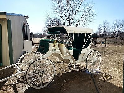 VIS A VIS HORSE CARRIAGE 6 PASSENGER WHITE AND GREEN BEAUTIFUL