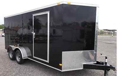 Black Utility V-Nose Trailer 2014, 7x16, full interior build out