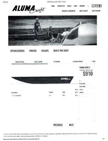 2015 Alumacraft Sierra 1436 LT