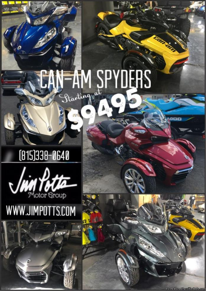 CLEARANCE! Can-Am Spyders BEST PRICE GUARANTEED! PRICES START AT JUST $9495
