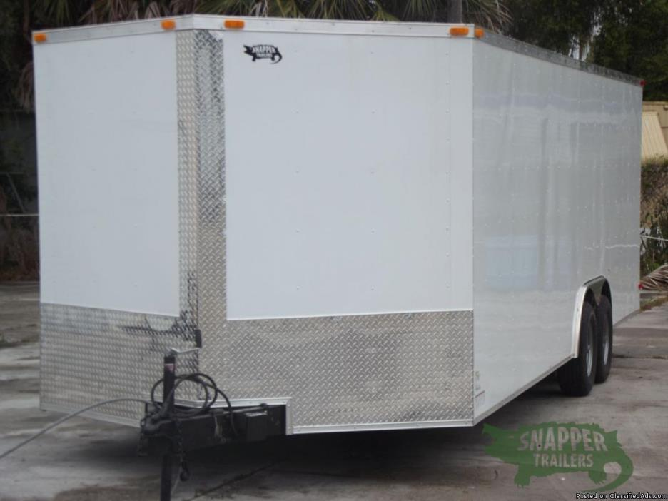 8.5 ft. x 24 White EXT. Motorcycle Trailer w- Drings -NEW TRAILER!