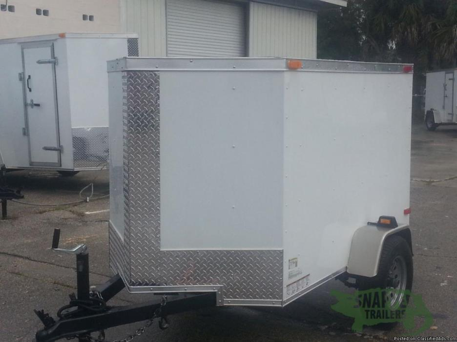 4 ft. x 6 White Ext Enclosed Cargo w/Vnose & No Side - NEW Trailers IN STOCK!