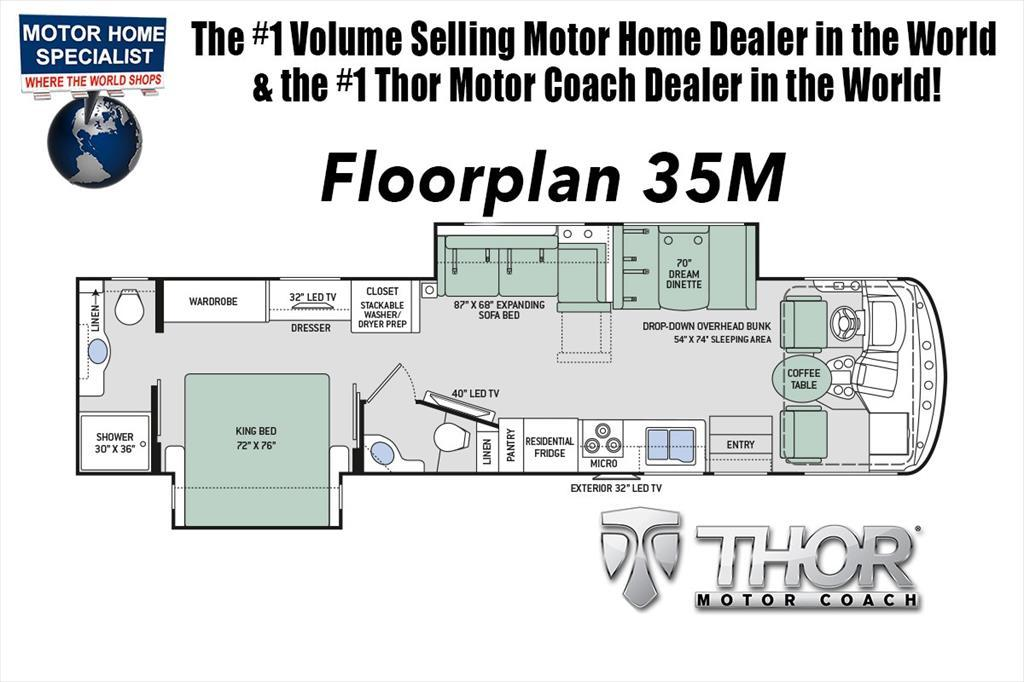 2018 Thor Motor Coach Hurricane 35M Bath & 1/2 RV for Sale at MHSRV.com W/Kin