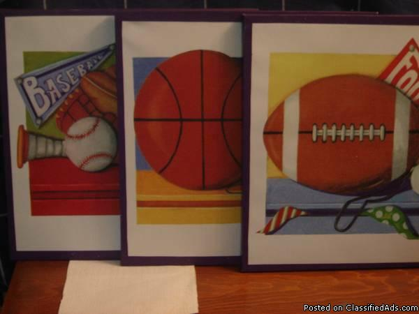 3 ART PRINTS (sports) by Kathy Middlebrook ~ home or business decor * $20 each...