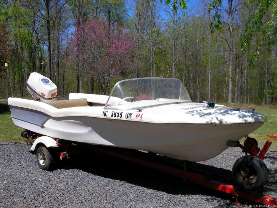 1959 Glastron Fireflite 15 foot boat and trailer with 40 hp Johnson motor