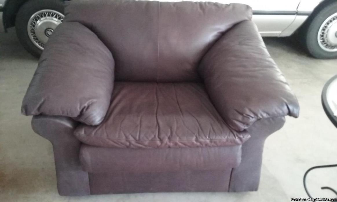 ALL LEATHER COUCH, CHAIR AND OTTOMAN, 0