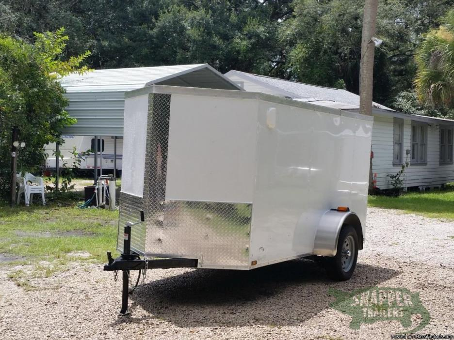 New White 5x10 foot ENCLOSED Trailer with RV Side Door &One Axle!