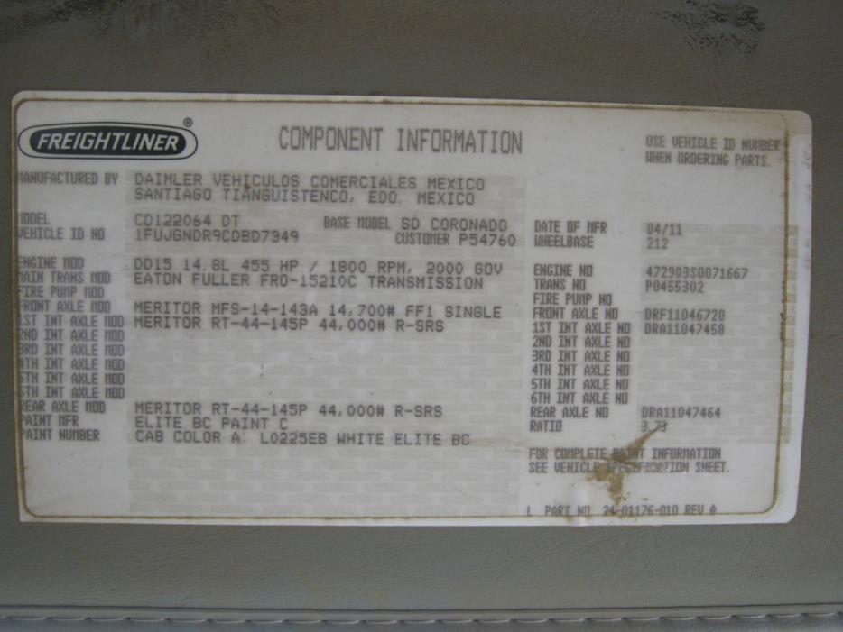 2012 Freightliner Coronado Conventional - Day Cab, 6