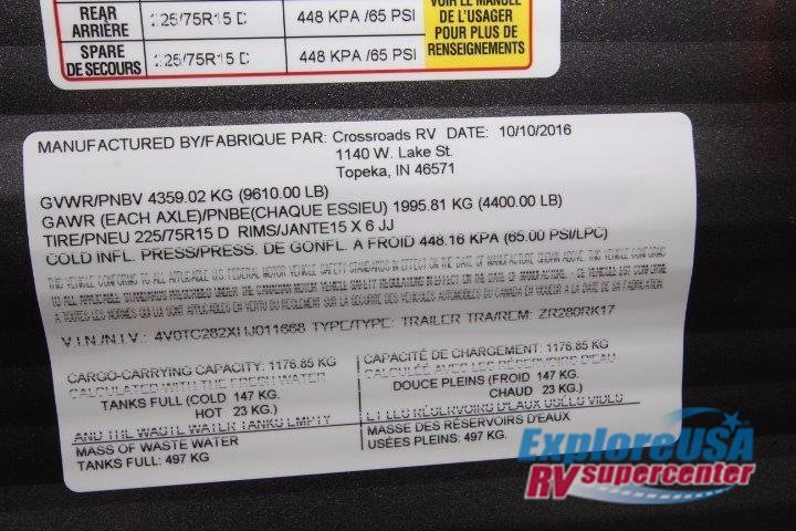 2017 Crossroads Rv Zinger Z1 Series ZR280RK