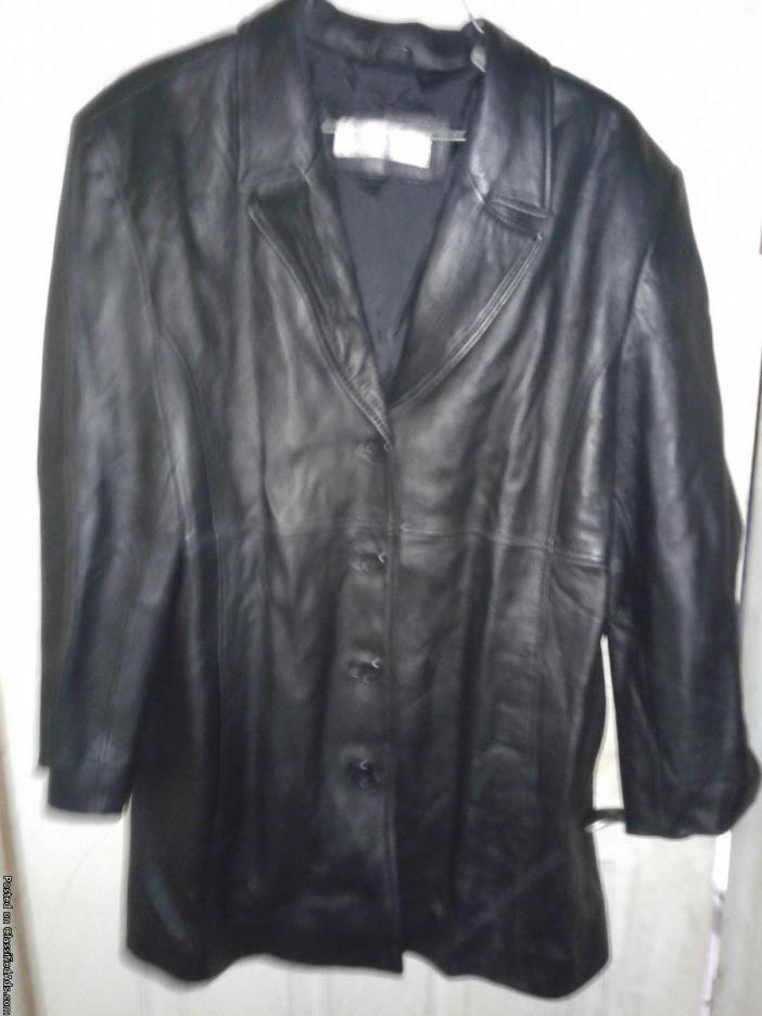 Ladies Valerie Stevens New Zealand Lambskin Black Leather Jacket