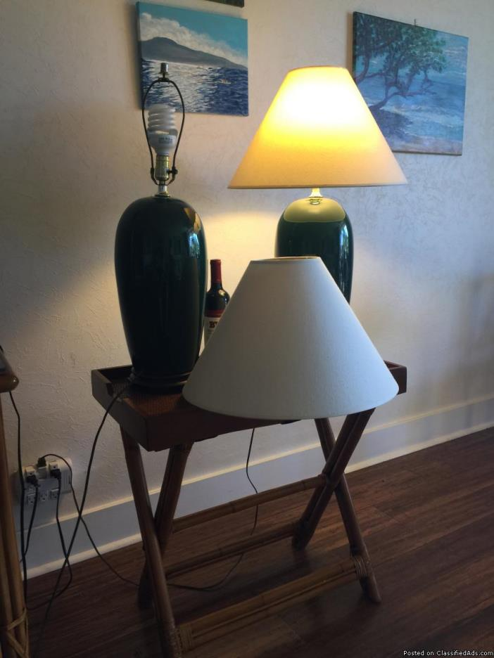 Two large green lamps with shades