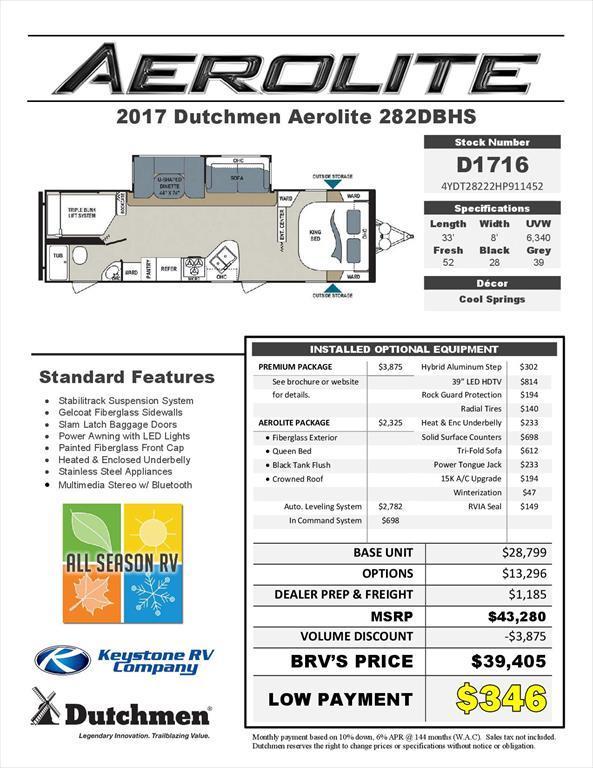 2017 Dutchmen Aerolite 282DBHS