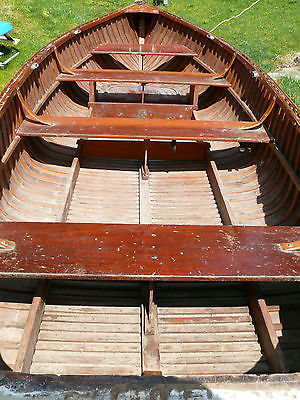 Vintage Canvas Covered Hull All WOOD FISHING BOAT Three Bench Seats Length 14'