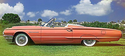 Ford : Thunderbird Leather RARE 1964 FORD Samoan Coral Thunderbird T-BIRD Convertible - VERY LOW MILES