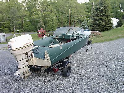 Crestliner Jetstreak runabout aluminum Feathercraft Johnson outboard antique